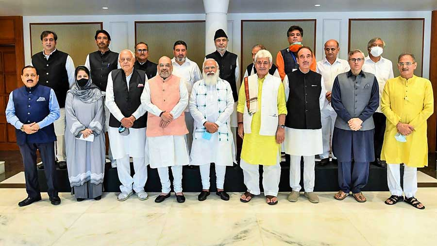 Prime Minister Narendra Modi during an all-party meeting with various political leaders from Jammu and Kashmir, in Delhi.