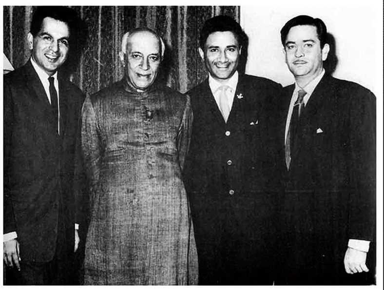 Dilip Kumar, Dev Anand and Raj Kapoor with Pt. Jawaharlal Nehru