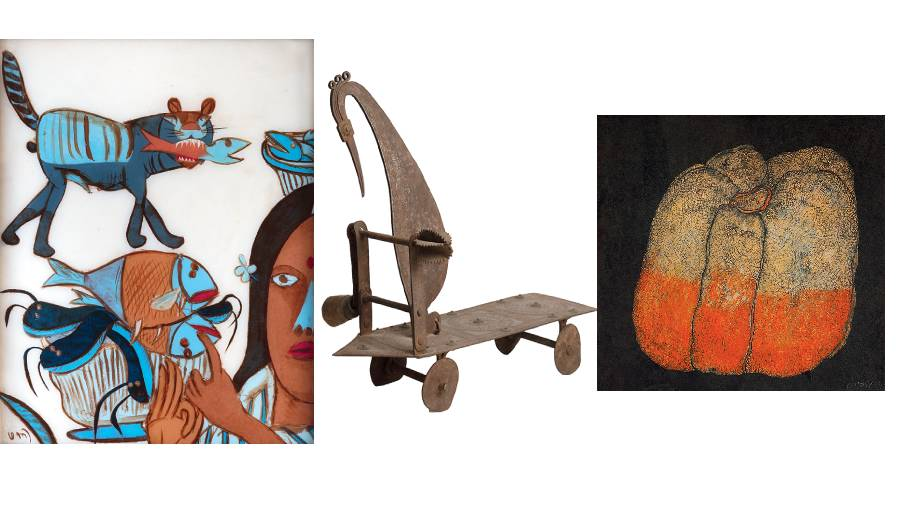 (L-R) Print from the portfolio Abundance from Rural India, J.P. Singhal, published by M.L. Binani and Dinesh Singhal, c.1970; A Coconut Grater and Vegetable Cutter c.18th-19th century, South India Iron; Fruit-I, Jogen Chowdhury, 1977, ink and pastel on paper
