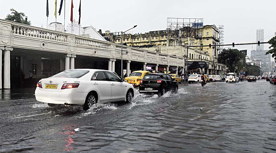 A flooded Chowringhee Road on Wednesday.