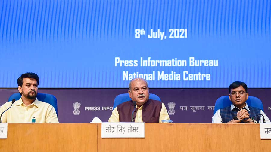 Union Minister for Agriculture & Farmers Welfare Narendra Singh Tomar, Union Minister for Health and Family Welfare Mansukh Mandaviya and Union Minister for Information & Broadcasting Anurag Singh Thakur, address a press conference on Cabinet decisions, in New Delhi.