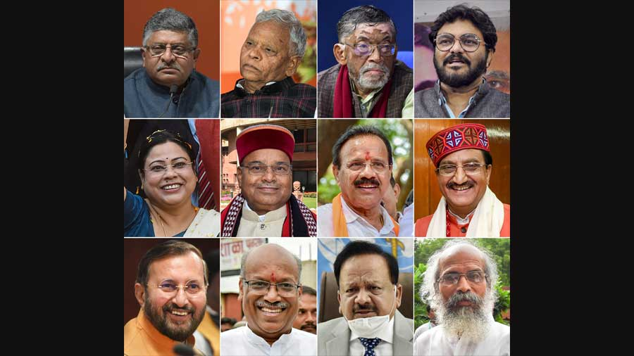 Union Ministers, from left to right in the top row- Ravi Shankar Prasad, Rattan Lal Kataria, Santosh Kumar Gangwar and Babul Supriyo; from left to right in the middle row- Debasree Chaudhuri, Thaawarchand Gehlot, DV Sadananda Gowda and Ramesh Pokhriyal Nishank; and from left to right in the bottom row- Prakash Javadekar, Sanjay Dhotre, Harsh Vardhan and Pratap Chandra Sarangi- who resigned from their posts with immediate effect ahead of the Cabinet reshuffle, in New Delhi, Wednesday, July 7, 2021.