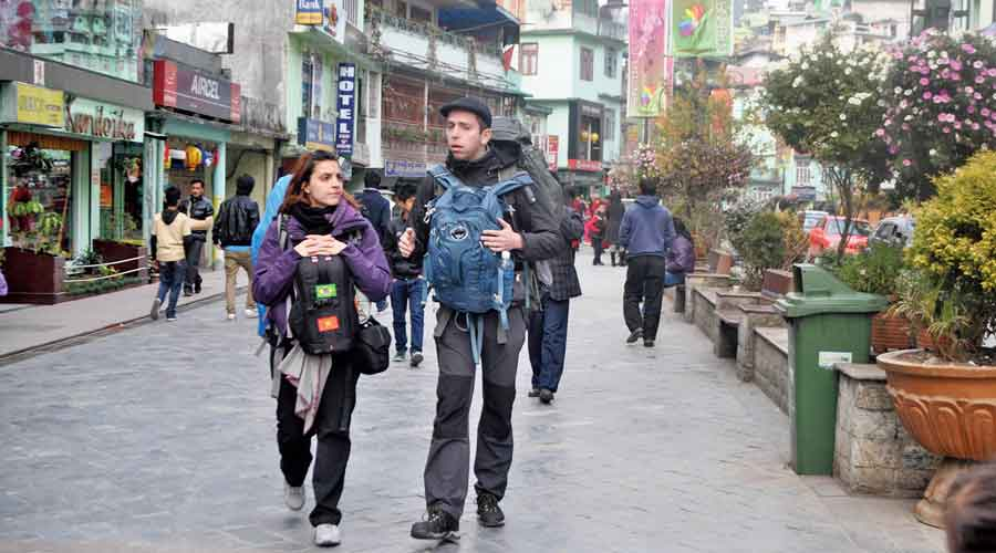 MG Marg, the famous promenade in Gangtok.