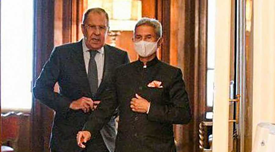 External Affairs Minister S Jaishankar with his Russian counterpart Sergey Lavrov in Moscow.