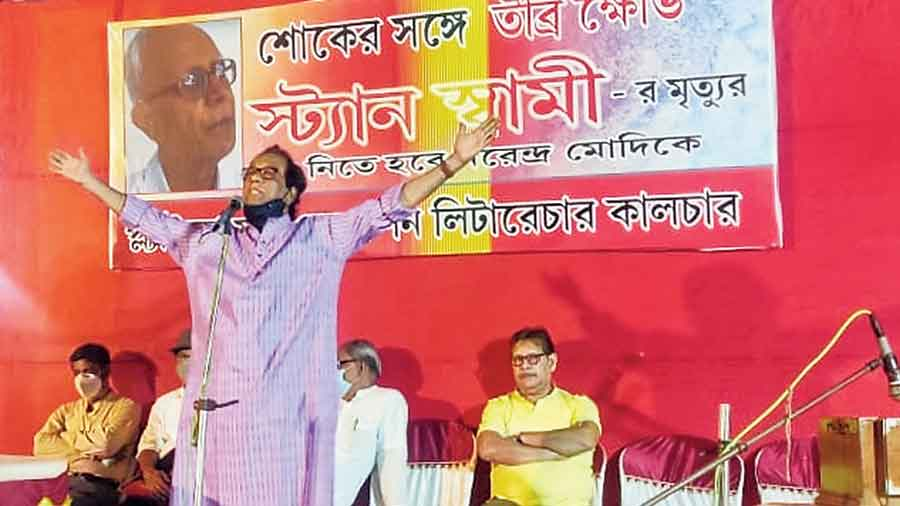 Cultural personalities Chandan Sen, Bimal Chakraborty, Debdut Ghosh, Manasi Sinha and Subhaprasad Nandi Majundar, at a meeting at Barrackpore on Friday, held the Narendra Modi government accountable for the death of 84-year-old Jesuit priest and tribal rights activist Father Stan Swamy.