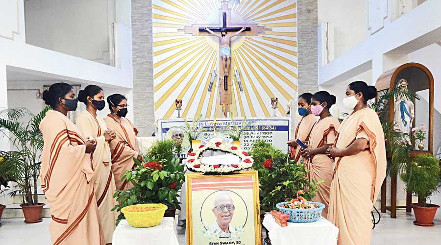 Last respects being paid to Father Stan Swamy at Loyola Chapel in Jamshedpur, where the Jesuit priest's ashes  were brought on Friday.
