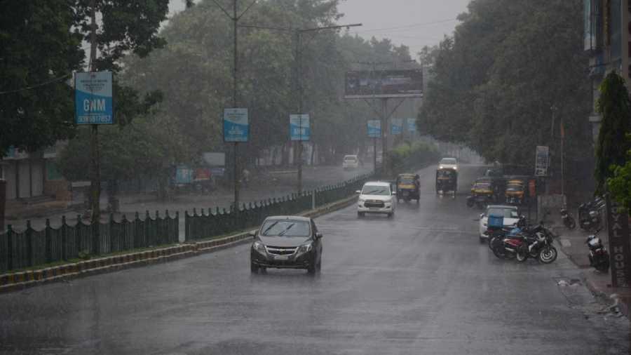Rain lashes steel city of Jamshedpur on Sunday.