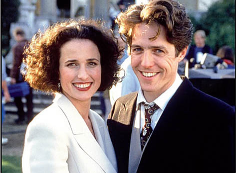 With Hugh Grant in Four Weddings and a Funeral