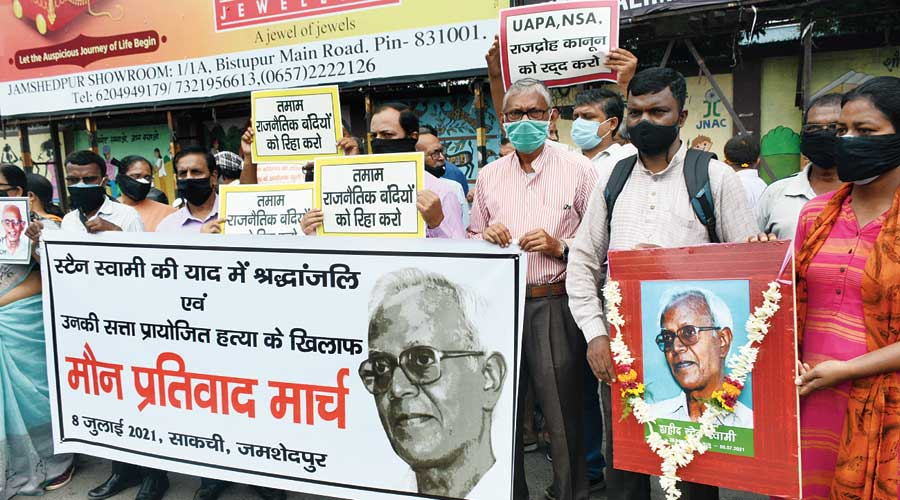 Social groups, academics and political activists stage a dharna at Sakchi in Jamshedpur on July 8 to protest against the death of Father Stan Swamy