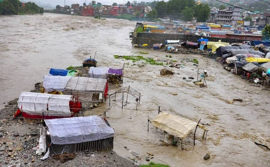A view of Beas river in spate after heavy rain in Kullu district on Monday.