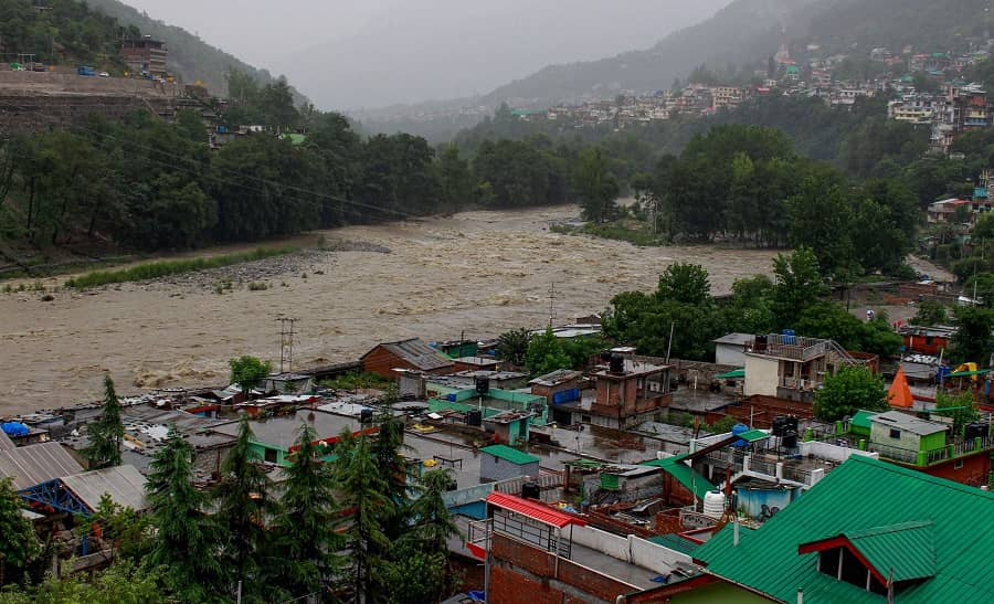Swollen Beas river due to continuous rain in Kullu on Monday.
