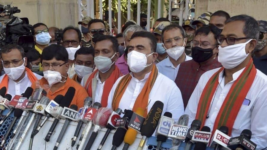 A BJP delegation led by Suvendu Adhikari at Raj bhavan in Calcutta on Tuesday.