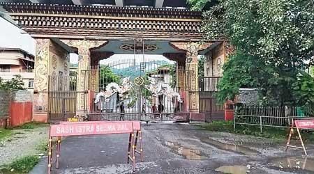 The closed gate at the India-Bhutan border in Jaigaon.