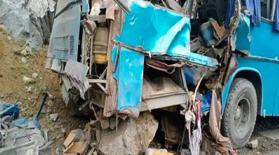The remains of the bus of after the explosion.