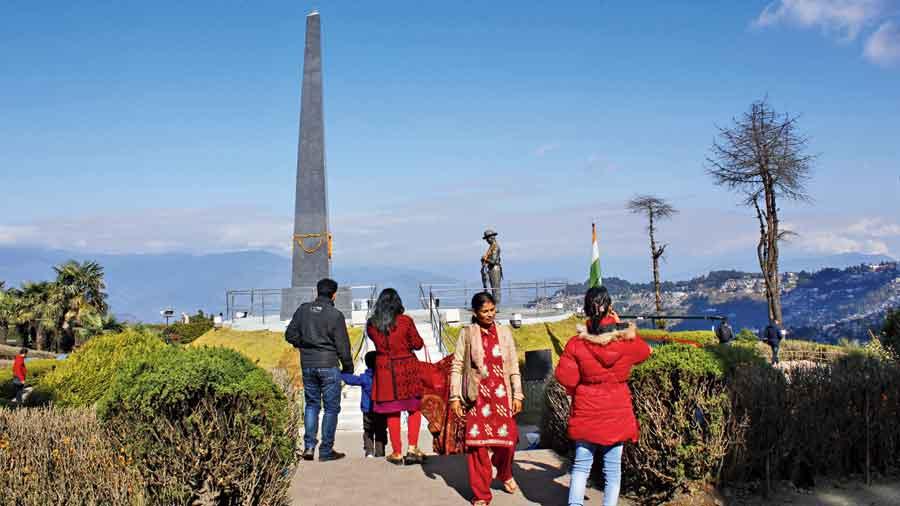 Tourists at Batasia Loop in Darjeeling.