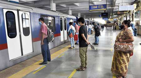 """""""Service will be available at seven to nine minutes' interval for most of the day. Let us see how the first day goes. The number of trains will be increased from next week if there is a need for the same,"""" said a Metro official."""