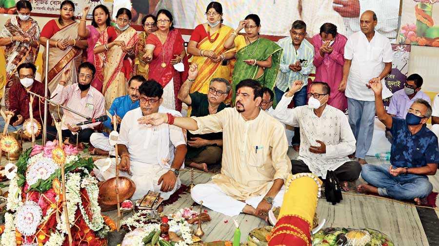 Club president Sujit Bose attends khuti puja at Sreebhumi on Sunday