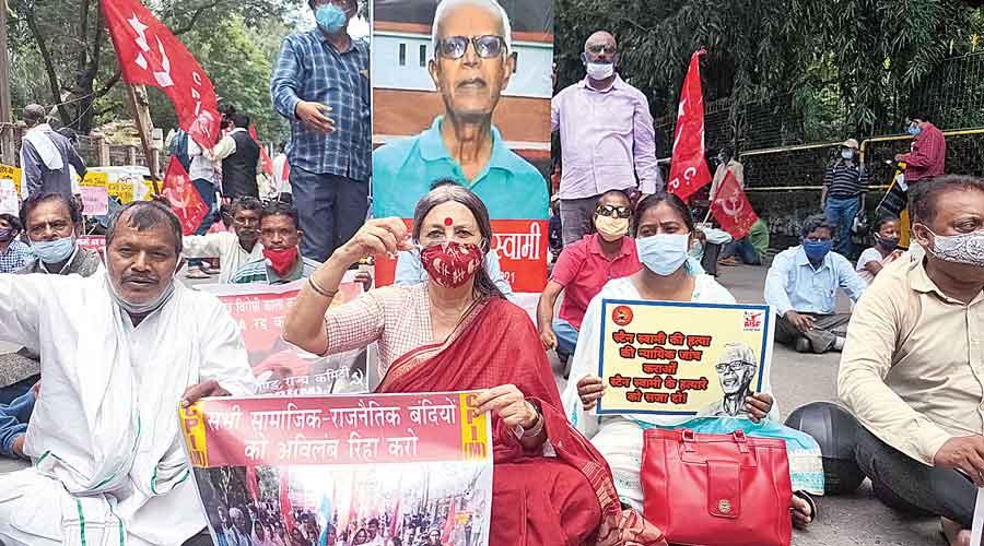 Brinda Karat and activists protest outside the Raj Bhavan in Ranchi on Thursday.