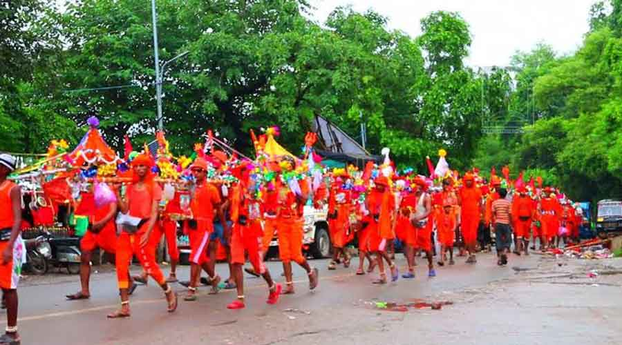 The yatra goes on till the first week of August and sees thousands of Shiva devotees called kanwariyas' travelling mostly on foot from neighbouring states, including Uttar Pradesh, Haryana and Delhi to collect water from the Ganges in Haridwar.