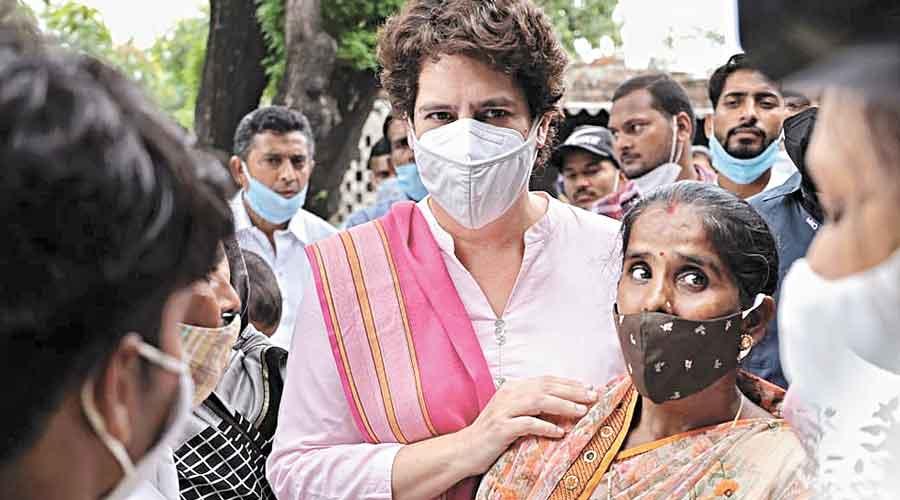 Priyanka at Lakhimpur Kheri to meet the victims  of poll violence.