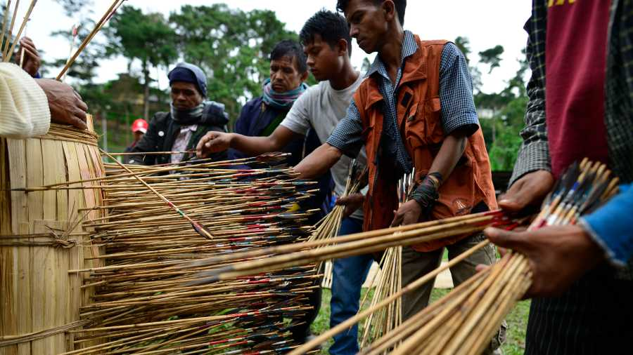 A traditional Khasi archery lottery underway in Shillong