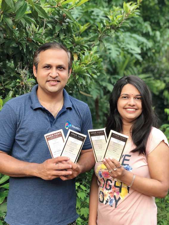 Keshav Murthy M. and Poornashree A.S. of Karnataka are the couple behind Koko Pods Chocolates and have created flavours like  Pan Delight (left) and Delicious Salt