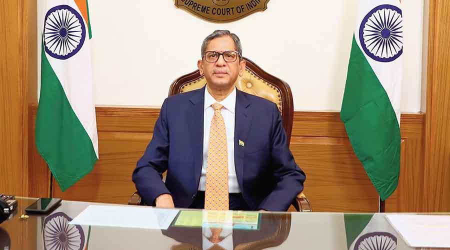 Justice Ramana addresses the India-Singapore mediation summit in New Delhi on Saturday.