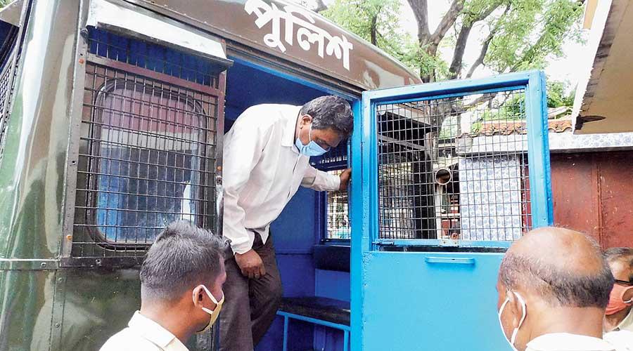 School principal Kamal Kumar Rajoria at the Bankura court on Monday.