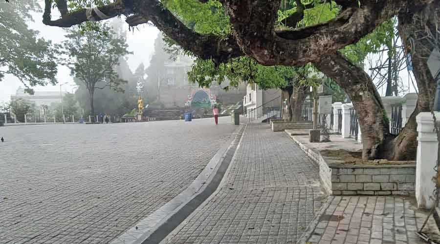 The deserted Mall in Darjeeling, which used to be  frequented by tourists.