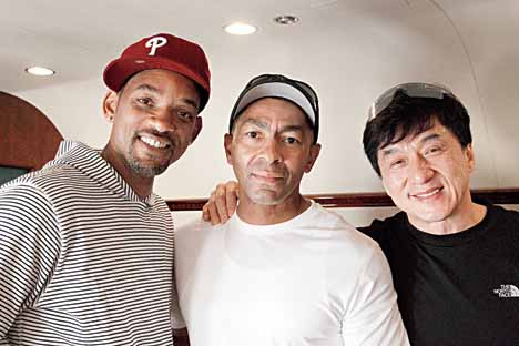 Darrell Foster (centre) with Will Smith and Jackie Chan