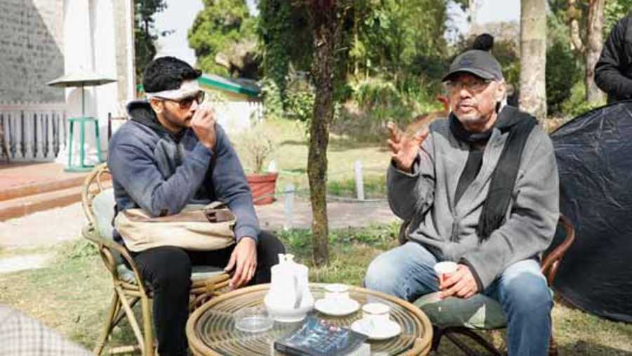 Arjun Chakrabarty and Anjan Dutt on the sets of Murder in the Hills, streaming on Hoichoi from July 23