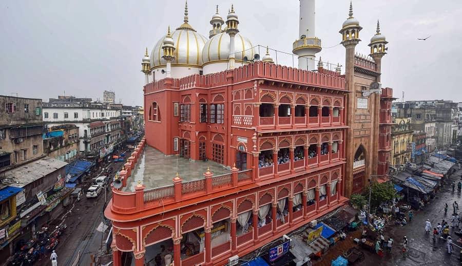 Devotees offer Namaz on Eid al-Adha at Nakhoda Masjid in Calcutta on Wednesday