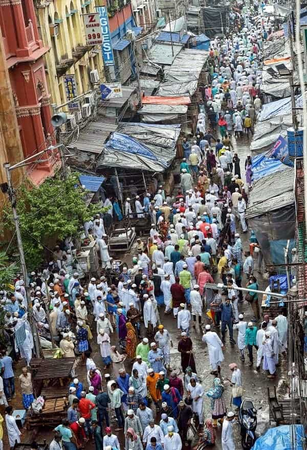 Muslims after offering namaz on Eid al-Adha at Nakhoda Masjid, in Calcutta on Wednesday.