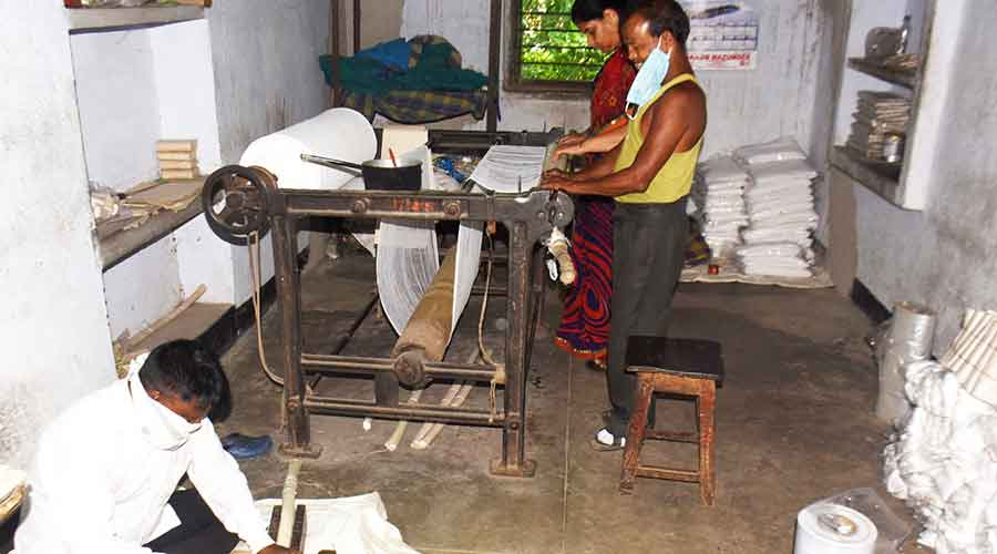 OT gowns and other goods being processed at the Barmasia Rehabilitation and Training Centre in Barmasia, Dhanbad on Wednesday.