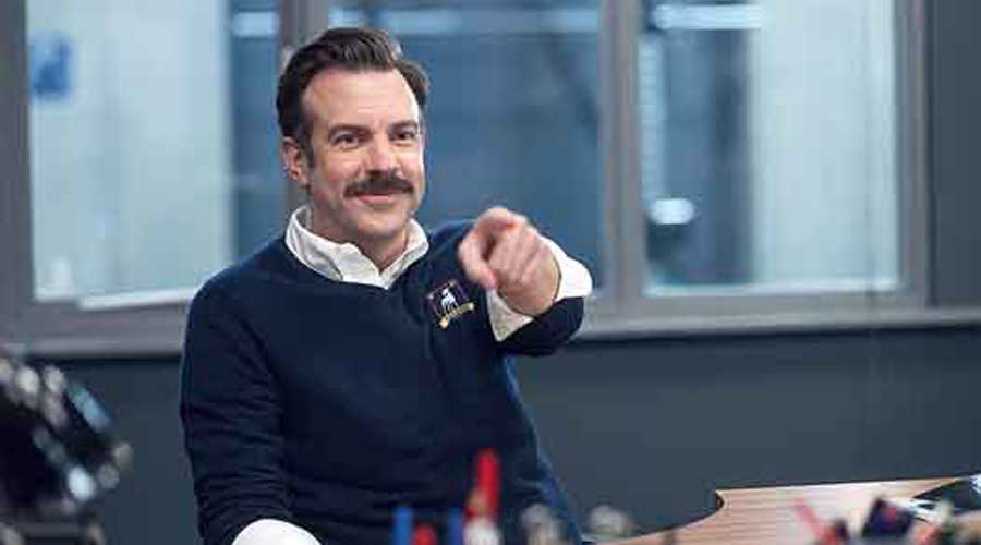 A scene from the Apple TV+ comedy Ted Lasso, which is based on a character of the same name portrayed in short NBC Sports promos starring Jason Sudeikis. The second season premieres on July 23. Pictures: Apple TV+