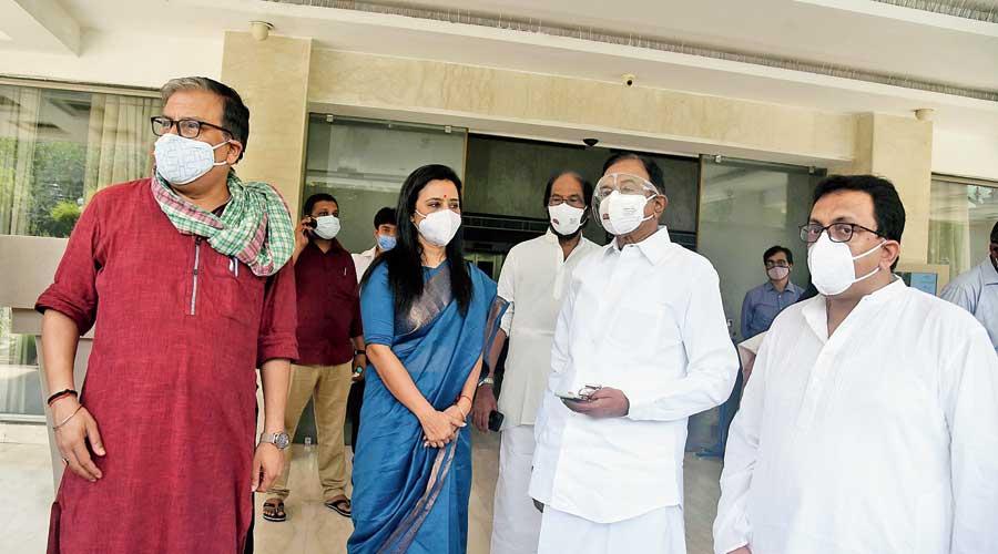 Congress leader P Chidambaram (right), DMK MP Tiruchi Siva (second from right),  Trinamul Congress MP Mahua Moitra and RJD MP Manoj Jha (left)  in New Delhi after attending virtually the Martyrs' Day event  in Calcutta.