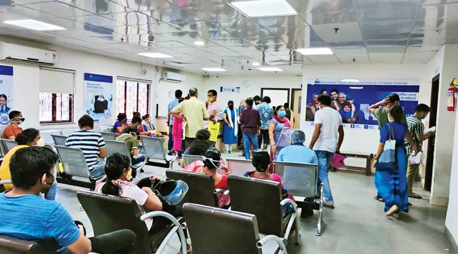 The space for corporate heath check-up at RN Tagore hospital being used for Covid vaccination