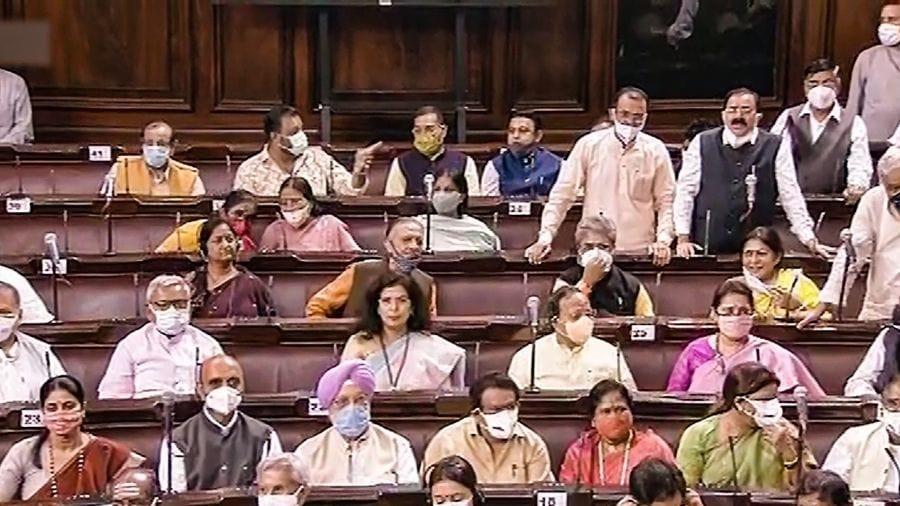 Ministers and MPs at Rajya Sabha on Thursday.