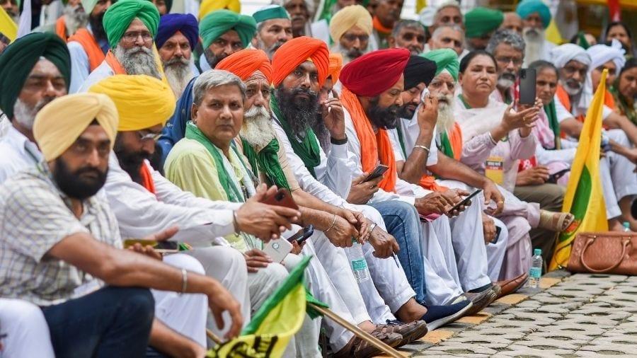 Farmers during the Kisan Parliament on Thursday at Jantar Mantar in New Delhi.