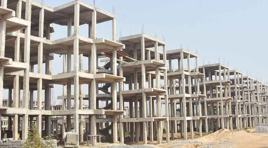 Construction work of new quarters at Belgaria in Dhanbad.