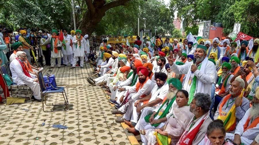 Kisan Sansad underway at Jantar Mantar in New Delhi on Thursday.