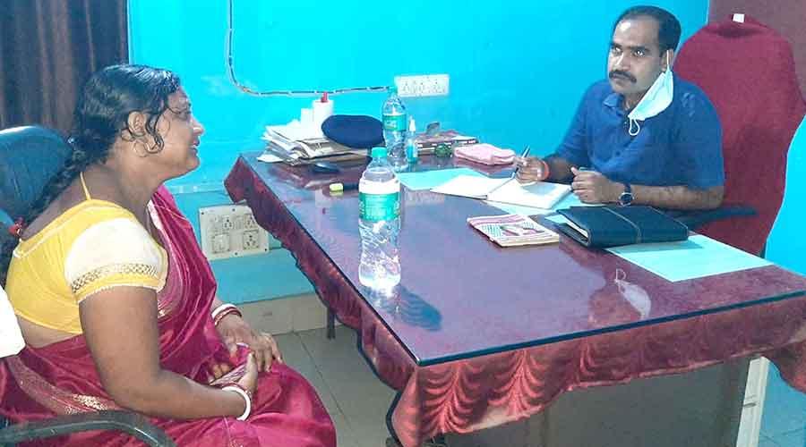 The victim's mother at Govindpur police station in Dhanbad on Thursday.