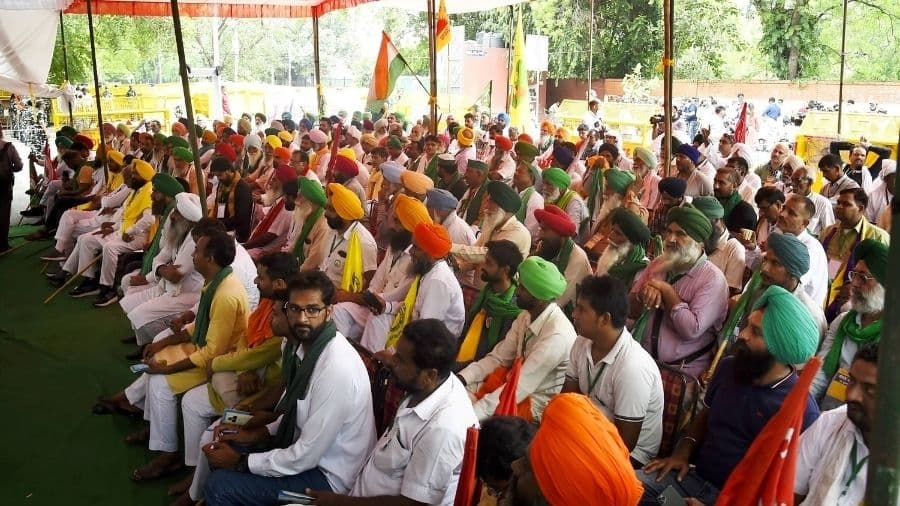 Kisan Sansad underway at Jantar Mantar in New Delhi on Friday.
