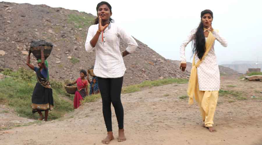 Members of Nrityann Dance Troupe practice at a mines site in Jharia.
