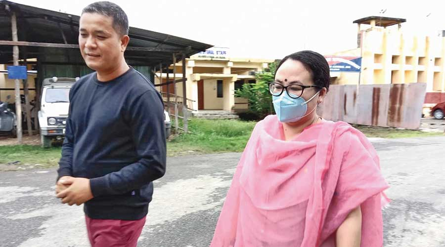 Kishorchandra Wangkhem with his wife Ranjita after his release on Friday
