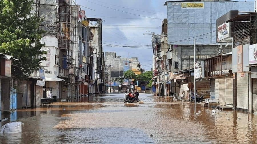 Floodwater enters Sangli in Maharashtra on Saturday.
