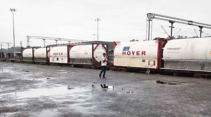 The Oxygen Express at Tatanagar station on Saturday.