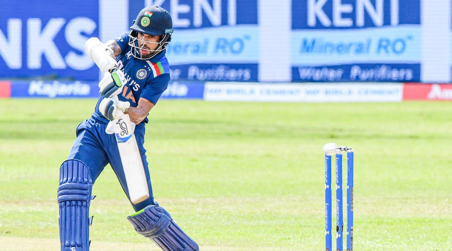 Indian Cricket team captain Shikhar Dhawan in action during 3rd & final ODI with Sri Lanka, at Premadasa Stadium in Colombo, Friday.