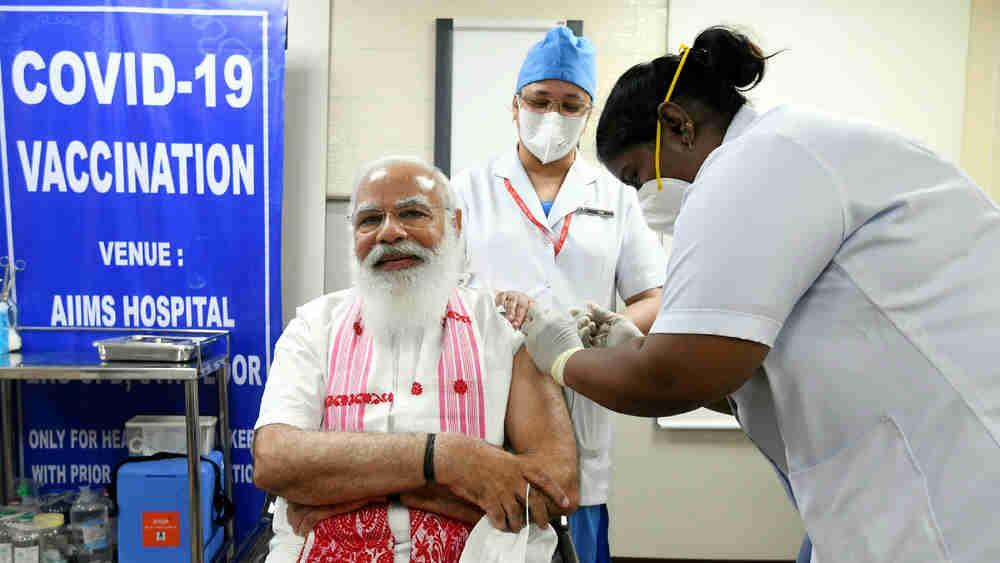 Narendra Modi takes his second dose of the Covid-19 vaccine, at AIIMS, New Delhi on April 8, 2021.