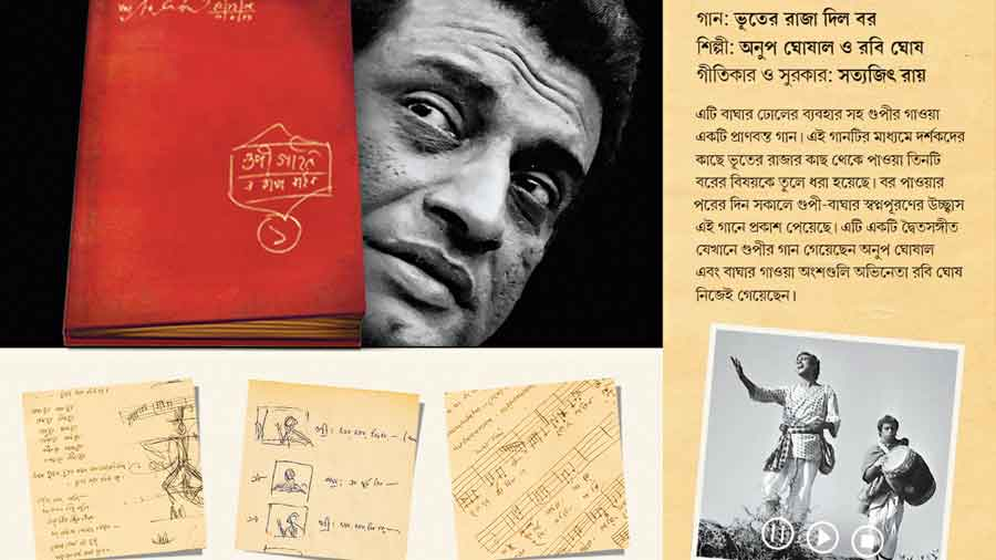 Satyajit Ray's first notebook for Goopi Gyne Bagha Byne, along with pages dealing with the song Bhooter Raja Dilo Bo